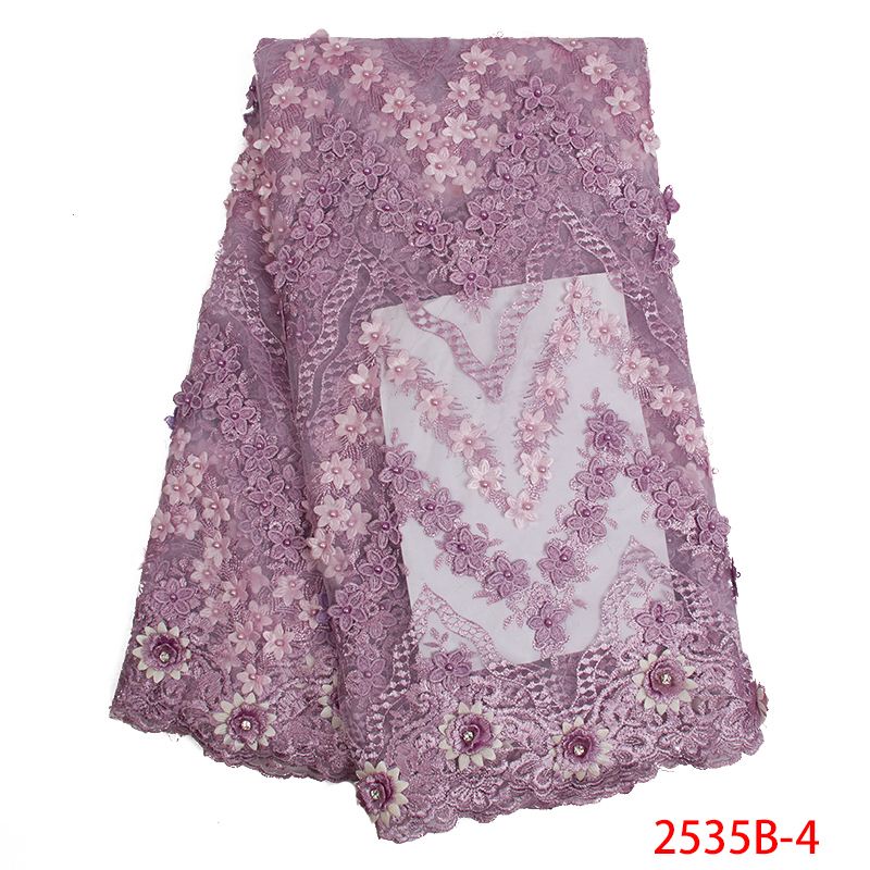 Best Selling African Lace Fabric 3D Flower 2019 French Beaded Fabric Lace Embroidery Tulle Laces Fabrics KS2535B-4