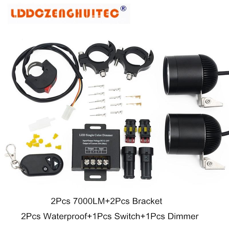 LDDCZENGHUITEC Car Motorcycle LED Headlamp DRL Fog Lights Spot Lamp Bulbs Angle Eyes 12-80V Auto Motor Headlight Universal Set