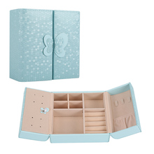 Butterfly Leather Jewelry Box Organizer Display Storage Mini Travel Case with Magnetic Closure Shipping From Russia LXH