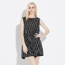 2017 Summer Women Sexy A-Line Fashion Sequined Patchwork O-Neck Sleeveless Backless Mini Dress