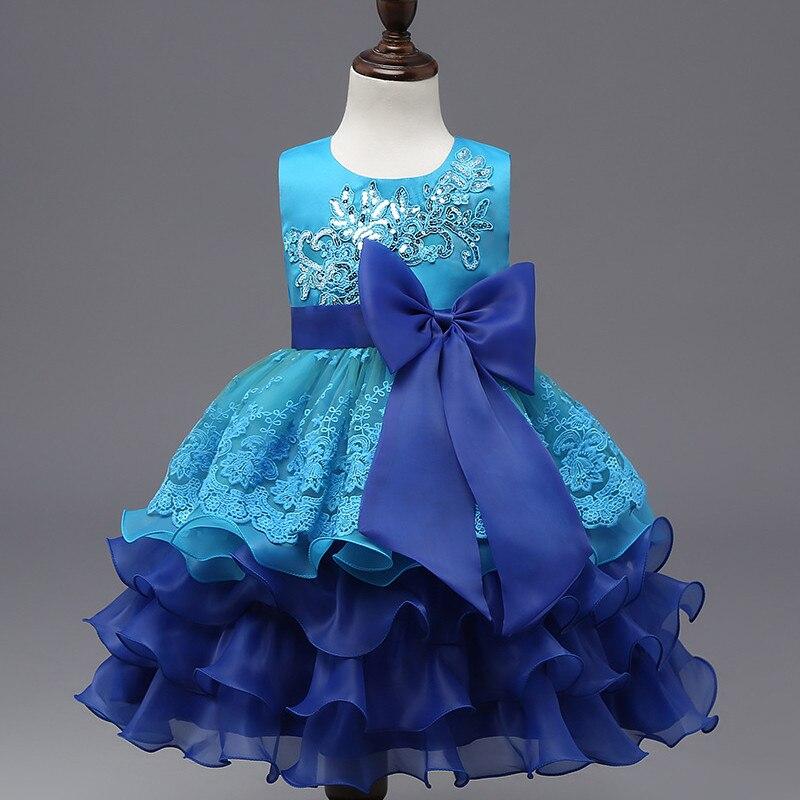 цена на 2017 Brand Summer Girls Print Sleeveless Princess Embroidery Perform Dress Girl Summer School Fashion Bow Wedding Dress Hot Sale