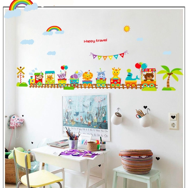 animal on train cartoon baby room wall stickers decoracion hogar kids room wall decals poster 60x90cm