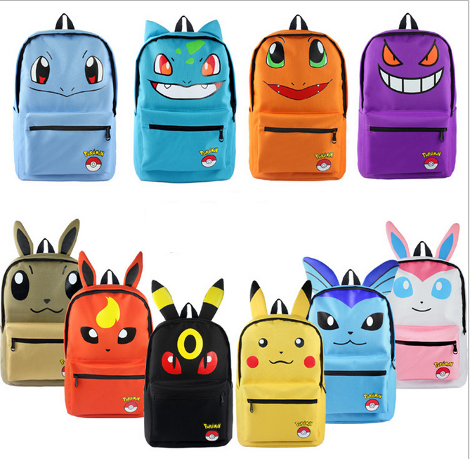 Pokemon Haunter Eevee Bulbasaur vászon hátizsák diákok válltáska Pocket Monster Haunter Schoolbags Laptop táskák