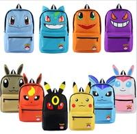 Pokemon Haunter Eevee Bulbasaur Canvas Backpack Students Shoulders Bag Pocket Monster Haunter Schoolbags Laptop Bags
