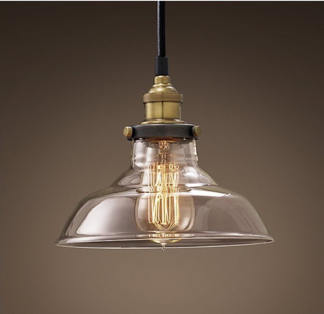 Nordic Industrial Edison Vintage Style 1 Light Pendant Transparency Glass  Hanging Light Ceiling Lamp Cafe