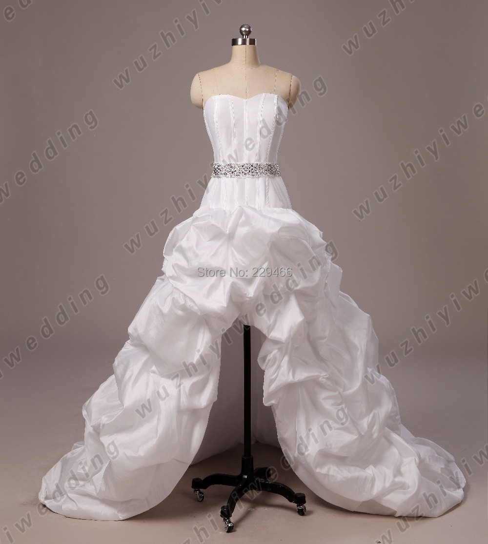 65f855ad27f42 High Low Sweetheart Beaded Belt Organza Wedding Dress Plus Size Front Short  Back Long WEdding Gowns