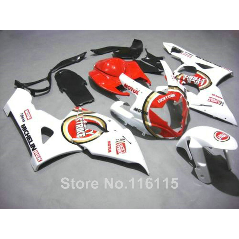 Injection molding plastic fairings for SUZUKI GSXR1000 2005 2006 white red LUCKY STRIKE fairing kit GSXR 1000 05 06 K5 K6 CP37 abs full fairing kit for suzuki injection molding k5 gsxr1000 2005 2006 red flames black fairings set gsxr 1000 05 06 yq67 cowl