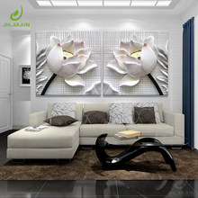 Modular Pictures 3D Art Flower Lotus Poster Wall Art Modular Paintings For Kitchen Wall Pictures Living Room Canvas Painting(China)