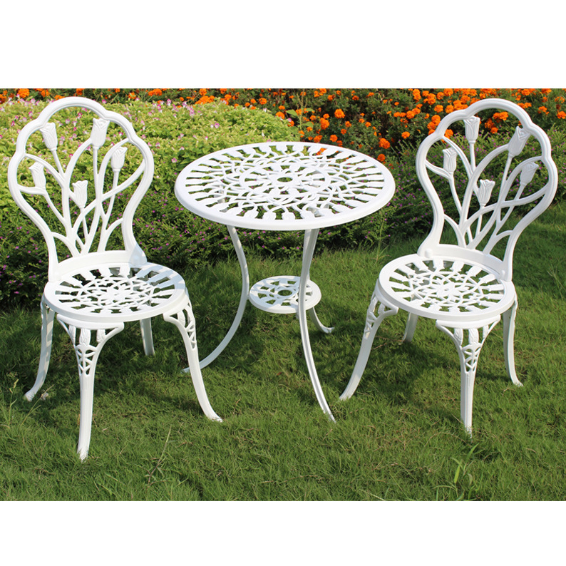 (3pcs/set) Durable Iron Outdoor Table Chairs Set Garden Furniture Decor