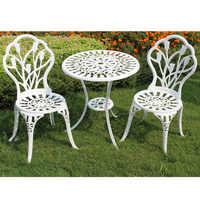 (3 ชิ้น/เซ็ต) เหล็กทนทานกลางแจ้งตารางเก้าอี้ชุด Garden Decor