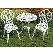 (3 sztuk/zestaw) trwałe żelaza stolik na zewnątrz zestaw mebli z krzesłami ogród dekoracja mebli