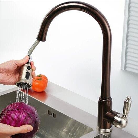 Antique Brown PullOut Kitchen Mixer Tap Oil Rubbed Bronze Sink Faucet 2017 Wholesale New Arrival