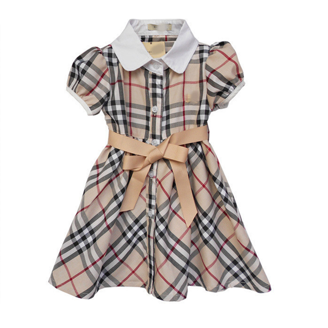 Hot summer autumn dress girls short sleeves plaid knee-length dresses with sashes for kids casual fashion girls party dresses