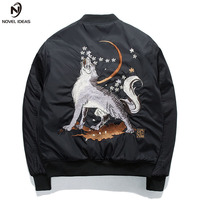 Bomber MA1 Jacket Wolf Embroidery Thick Men's Jacket Stand Collar Fashion Outwear Men Coat Bomb Baseball Jackets Winter