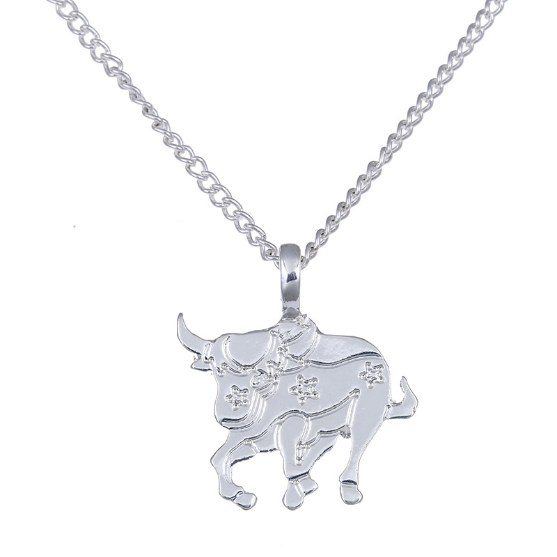 Fashion Jewelry Animal Zodiac Wealth Cattle Alloy Clavicular Pendant Short Necklace Gril Gift