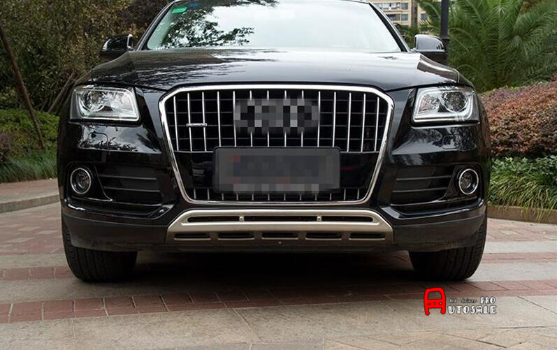 For Audi Q5 2013 2014 2015 Stainless Front Rear Bumper Skid Protector Guard Plate Cover 2pcs