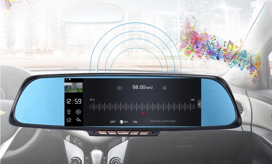 K05 6.86 pouces écran tactile voiture DVR caméra Starlight Vision nocturne double lentille rétroviseur DVR Auto Dash Cam 1080 P vidéo