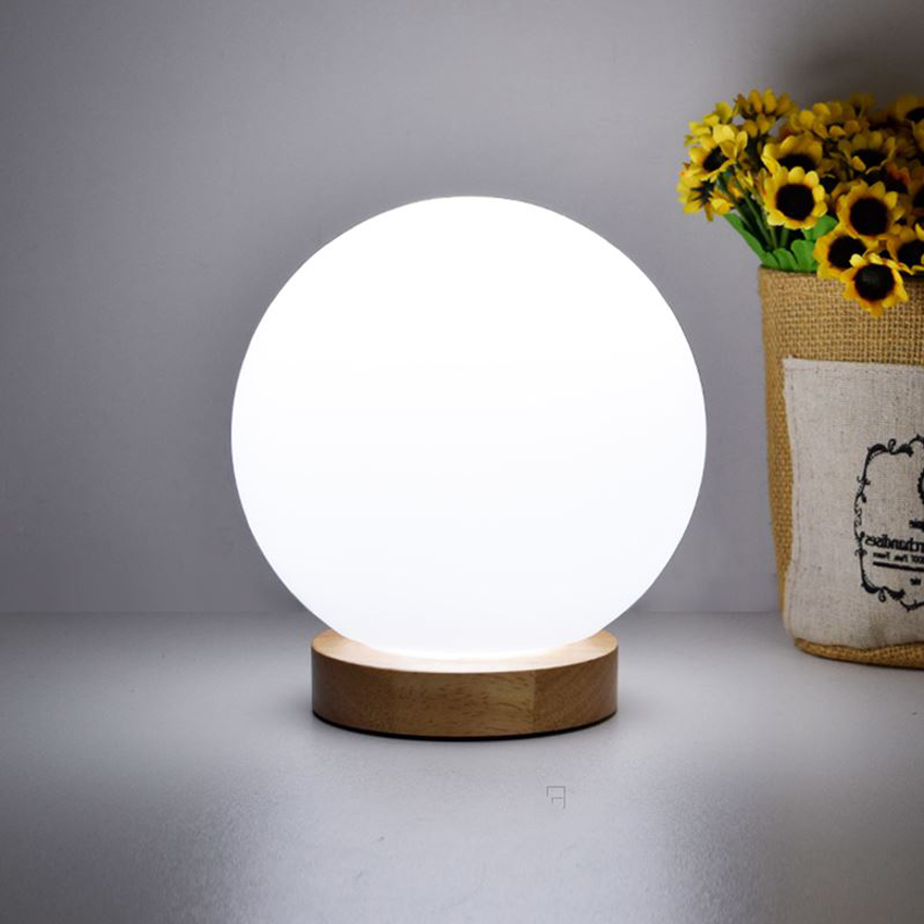 Modern Simple Wood Table Lamp dia 15cm Glass Ball lampshade Bedside Table Light For Living Dining Room bedroom lighting fixture