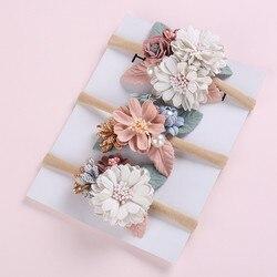 Laço de cabeça elástico para meninas, faixa de cabelo preto com elástico floral e pérola para fotografia de recém-nascidos, acessórios para criança
