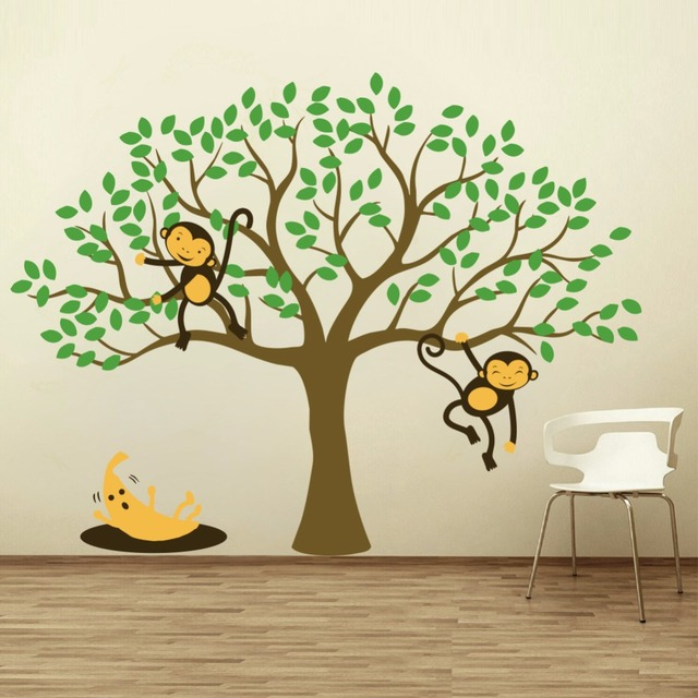 Yanqiao Cute Monkey Banana Tree Wall Decal Home Decoration Mural For