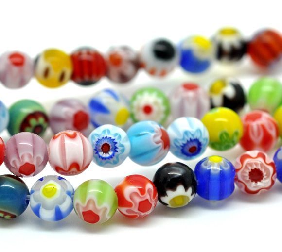 New Approx 0.8mm,38cm Long,1 Strand Steady Glass Beads Ball Mixed Flowerdyed About 6mm Dia,hole approx 65 Pcs/strand