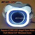 SINOLYN Full Metal 3.0 polegada H4 Q5 D2S Bixenon ESCONDEU Projetor Kit Farol lente COB Quadrado LEVOU Angel Eyes Carro de Halo Branco Styling