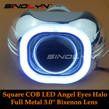 "SINOLYN Metal 3.0"" H4 Q5 D2S Bi xenon Lenses HID Projector Lens Headlight Kit Square COB LED Angel Eyes Halo White Car-styling"