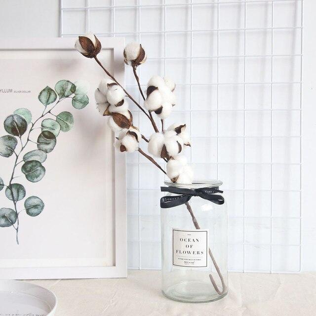المجفف طبيعيا القطن زهرة نباتات اصطناعية الزهور فرع ل حفل زفاف الديكور وهمية الزهور ديكور المنزل # L