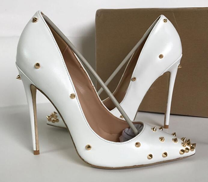 White sheepskin Patent Leather heels Shoes Pointed Toe Women Pumps Rivet Studded For Wedding Party Dress Stiletto Woman Size 43