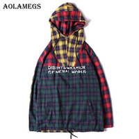 Aolamegs Male Hoodies Plaid Patchwork Thin Sweatshirts Loose Hooded Pullover Streetwear High Street Hip Hop Fashion