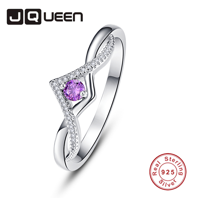 JQUEEN Amethyst White Zircon Rings For Women Silver Ring 925 Jewelry Pave Setting Crystal Jewelry Bijoux Femme