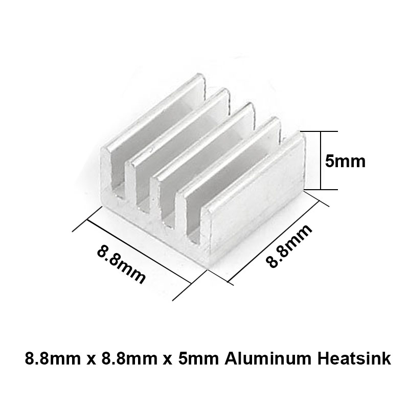 50pcs/lot Aluminum Heatsink 8.8x8.8x5mm Electronic Chip Cooling Radiator Cooler for CPU,RAM,GPU,A4988 Chipset Heat Sink 20pcs lot aluminum heatsink 14 14 6mm electronic chip radiator cooler w thermal double sided adhesive tape for ic 3d printer