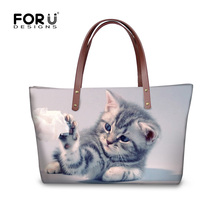 FORUDESIGNS Cute Cat Dog Women Handbags Casual Large Women's Shoulder Bag Luxury Top-handle Bag High Quality Tote Messenger Bags