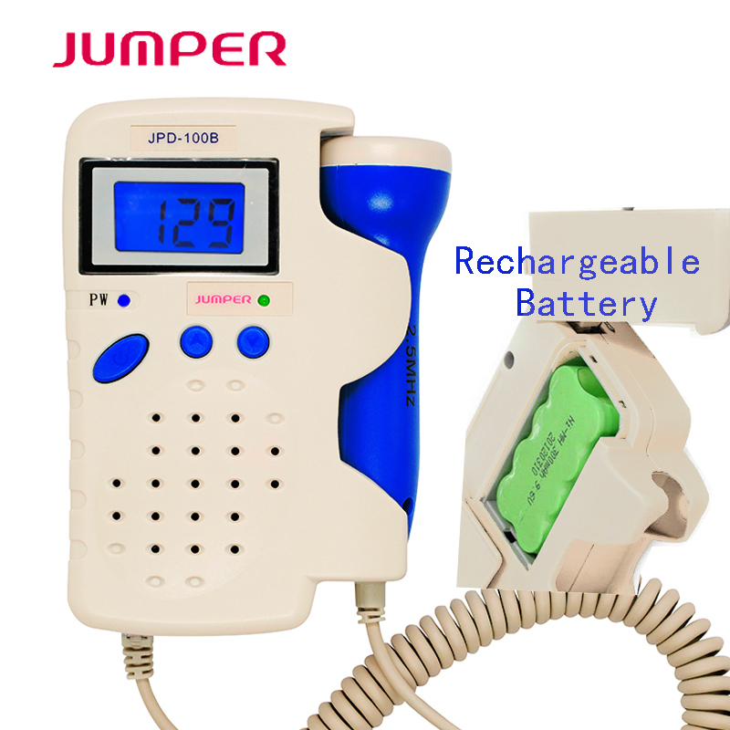 Portable Foetal Doppler Jumper Fetal Heart Rate Detection Device Easy to use for Home FHR Prenatal Ultrasonic Diagnostic Monitor