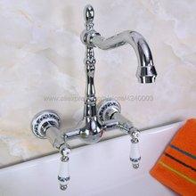 цена на Polished Chrome Bathroom Basin Sink Mix Tap Dual Handles Wall Mounted Kitchen Basin Sink Mixer Faucet Kna963
