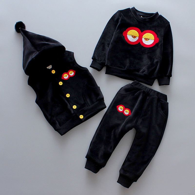 DapChild Winter Warm Children Clothes Set 3Pcs Tracksuits Cartoon Minion Eyes Thicken Sports Suit Kids Christmas Costume