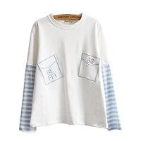 2017 Molla Delle Donne Vestiti Nuovo Modello di Sistema Solare Dolce Bella Ragazza A Righe A Manica Lunga Mosaico Busta Puro Cotone T-Shirt