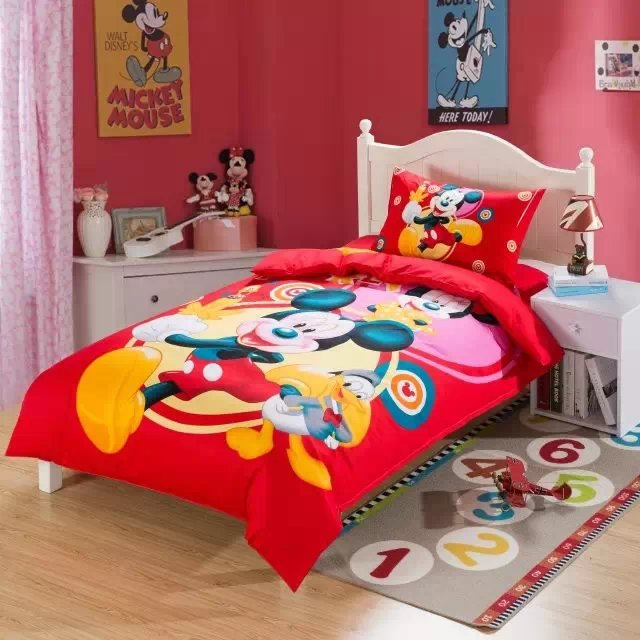 Red Mickey Mouse bedding sets single twin size bed comforter duvet covers bedspread cotton Children's boy's bedroom decor 3-5pc