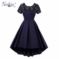 Nemidor Women Short Sleeve Lace Vintage O Neck Party Swing Dress Sexy Plus Size Patchwork Retro