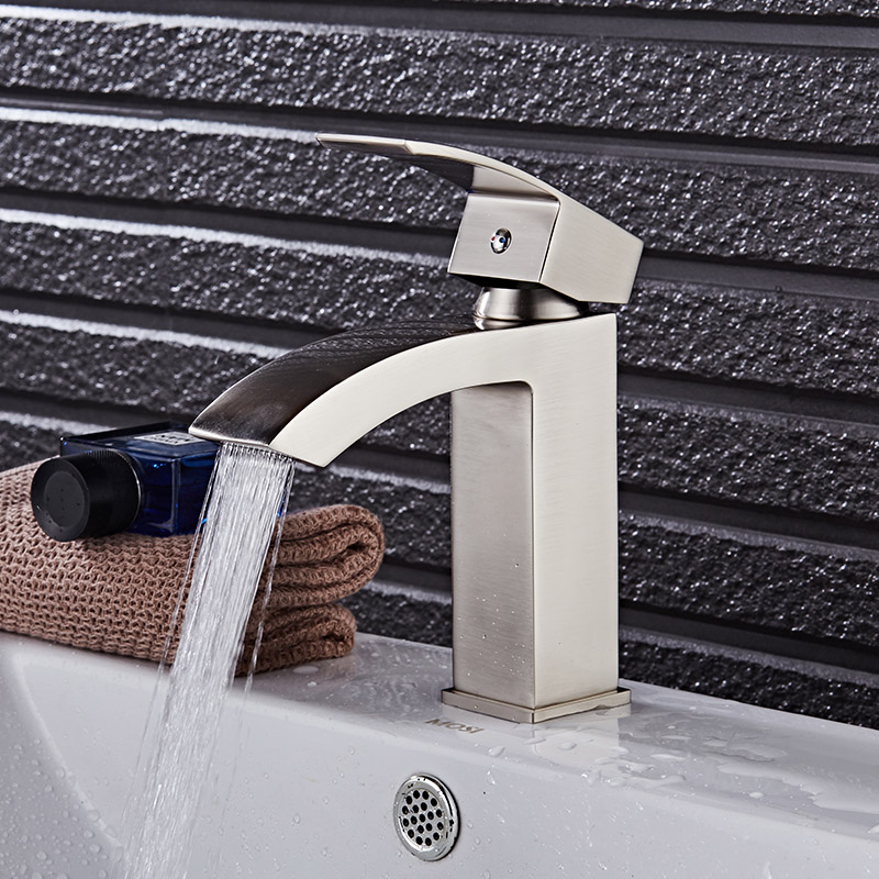 Free Shipping brass material water tap nickel single lever hot and cold bathroom basin faucet Luxury sink basin mixer basin tap hpb polish chrome tall basin faucet single lever bathroom sink mixer tap square style hot and cold water torneira
