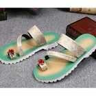 Batzuzhi Luxe Gloednieuwe Schoenen Fashion Leather Slippers Flip Flops Open Teen met Grote Crystal Flats Strand Sandaal Schoenen mannen - 5