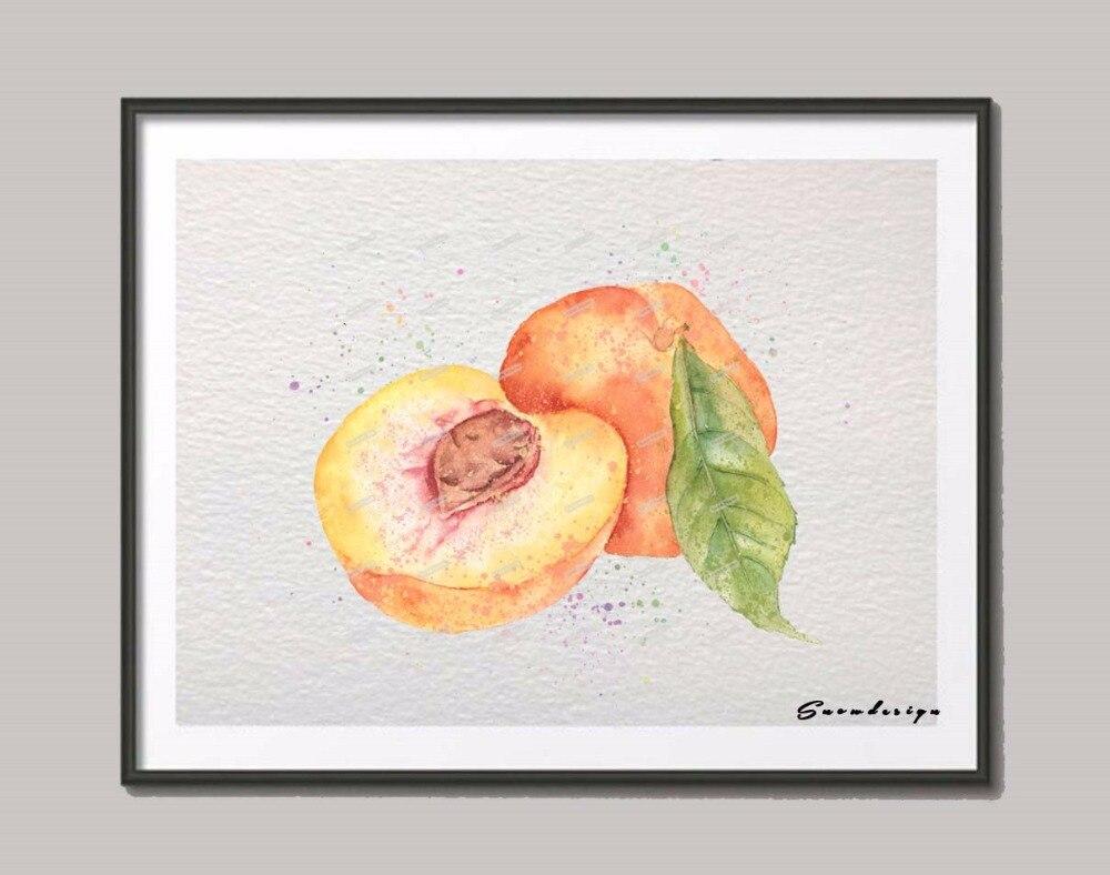 originale acquerello albicocca wall art su tela pittura di frutta poster stampe foto di cucina home