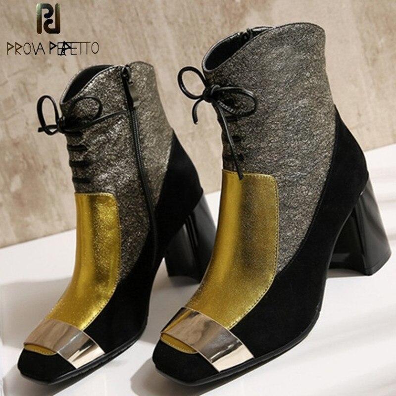 Prova Perfetto Nouveau Luxe Or Chaud Cheville Bottes Zapatos Mujer Tacon Lacets Épeler Couleur En Cuir Véritable Talons Hauts Femmes bottes