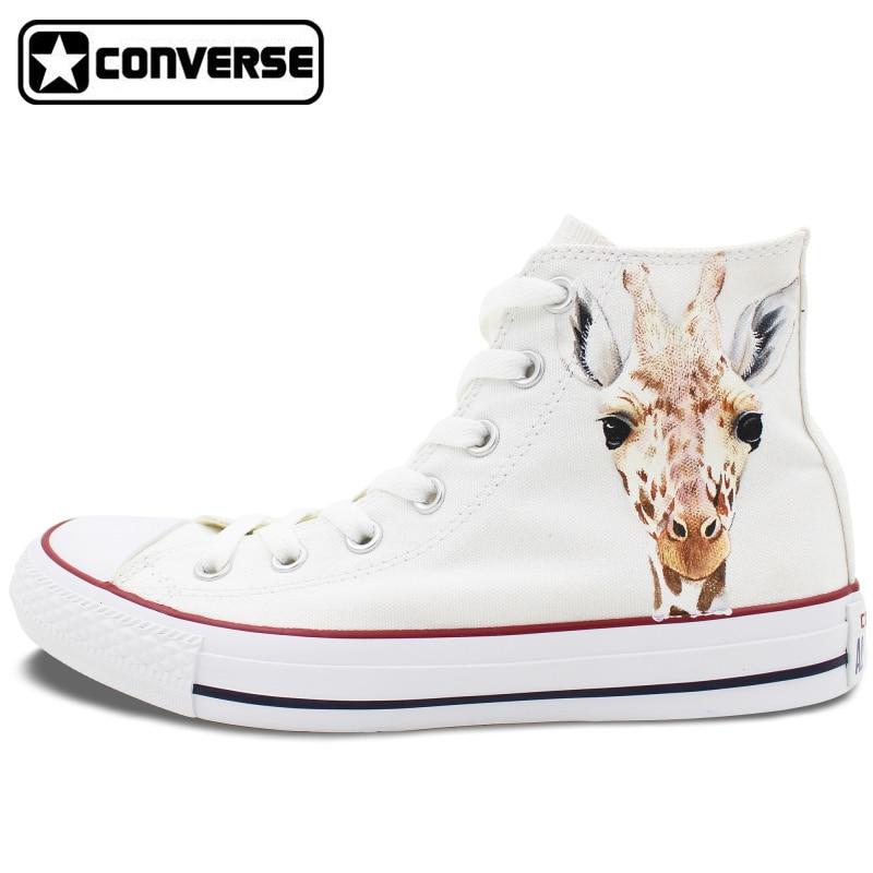 Prix pour Hommes Femmes Converse All Star Chaussures Peintes à la main Personnalisé Conception Animal de Girafe Homme Femme High Top Blanc Toile Sneakers