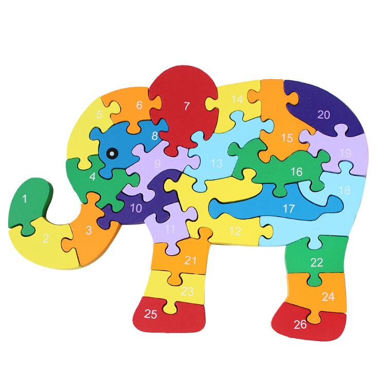 Слон деревянная игрушка головоломки Монтессори игрушки номер письмо образовательных Материал