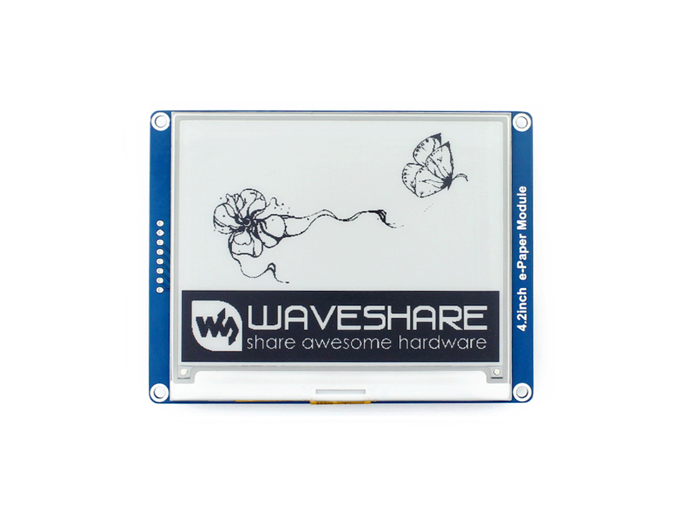 400x300, 4.2inch E-Ink display module No backlight Ultra low power consumption SPI interface Compatible with various boards