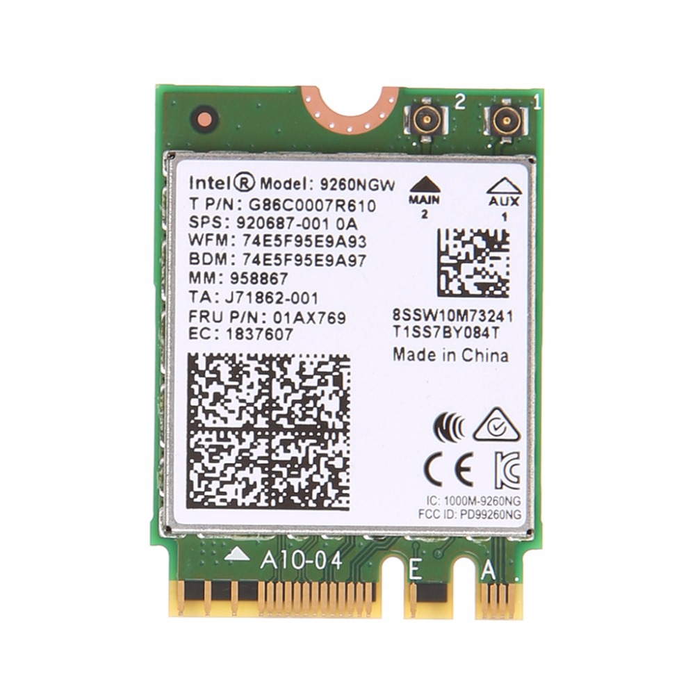 For Intel Wireless-AC 9260NGW Bluetooth NGFF Dual Band 802.11ac 1730M WiFi Card