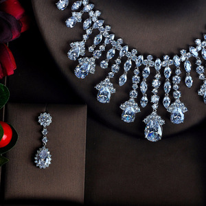Image 2 - HIBRIDE Clear Big Water Drop Pendant Women Jewelry Sets Bride Full Cubic Zircon Necklace Set Fashion Luxury Jewelry N 618