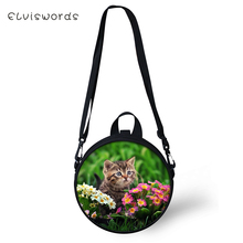 ELVISWORDS Women Round Shape Crossbody Bags Floral Cats Prints Pattern Cute Girls Small Purses Little Animal Shoulder