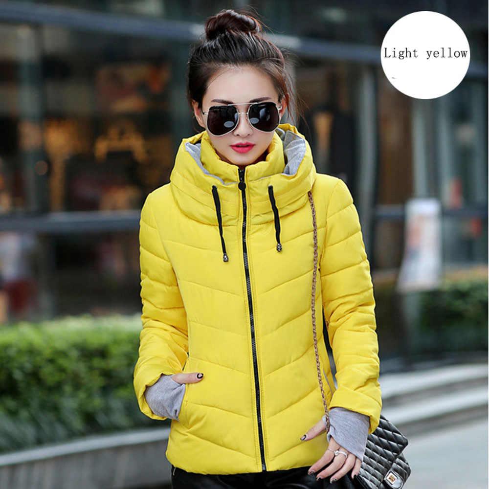 Winter Jas vrouwen 2019 fashion Womens Parka Thicken Bovenkleding effen hooded Jassen Korte Vrouwelijke Slanke Katoen gewatteerde basic tops